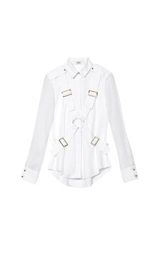 Medium prabal gurung white shirt with long sheer sleeves and harness
