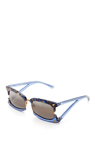 Medium prabal gurung blue rectangular sunglasses with claw detail