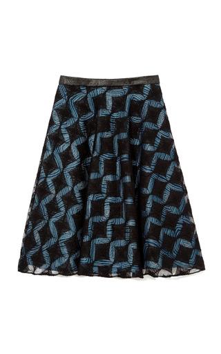 Medium rodarte blue metallic jacquard a line skirt