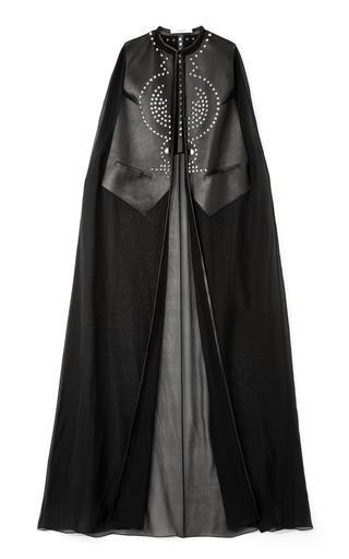 Medium givenchy black chiffon and leather long cape