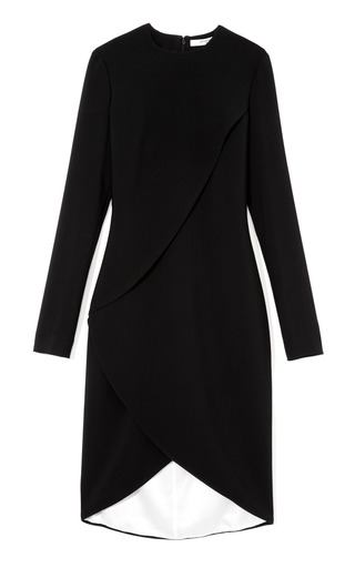 Medium givenchy black mo exclusive stretch draped wrap effect fitted dress