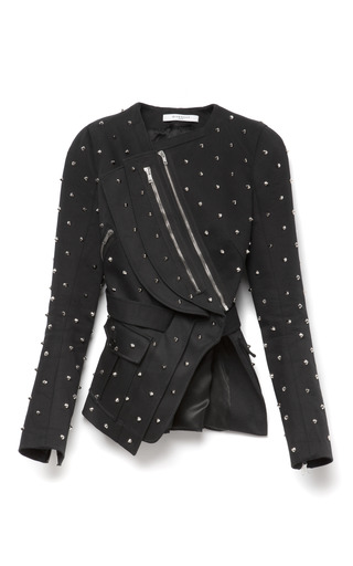 Medium givenchy black stud embellished fitted cotton jacket