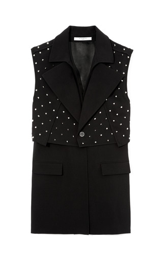 Medium givenchy black studded silk cady long vest