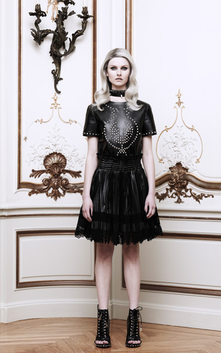 Leather And Lace Pleated Skirt by GIVENCHY Now Available on Moda Operandi