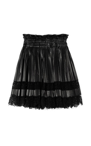 Medium givenchy black leather and lace pleated skirt