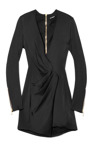 Medium balmain black silk satin wrap effect dress