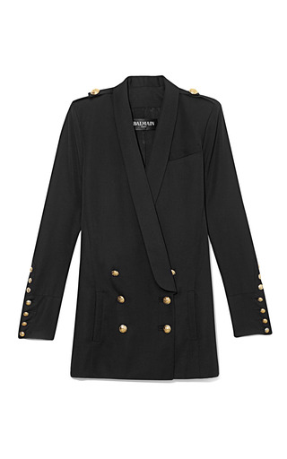 Medium balmain black mo exclusive double breasted long blazer