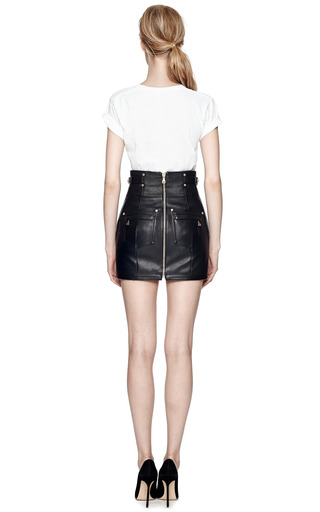 M'o Exclusive: Quilted Leather Mini Skirt by BALMAIN Now Available on Moda Operandi