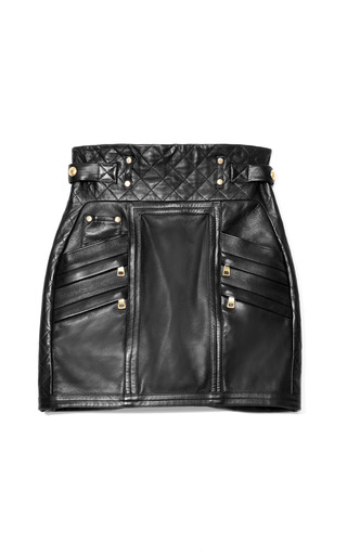 Medium balmain black mo exclusive quilted leather mini skirt
