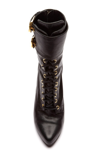 M'o Exclusive: Pointed Toe Lace Up Leather Boots by BALMAIN Now Available on Moda Operandi