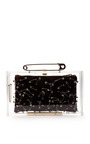 Punk Pandora Perspex Clutch With Safety Pins by CHARLOTTE OLYMPIA X TOM BINNS Now Available on Moda Operandi