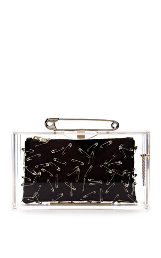 Medium charlotte olympia x tom binns black punk pandora perspex clutch with safety pins