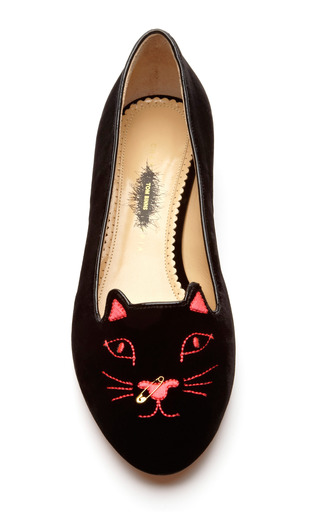 Kitty Anarchy Velvet Slippers by CHARLOTTE OLYMPIA X TOM BINNS Now Available on Moda Operandi