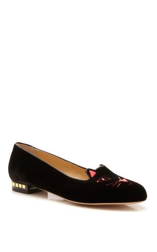 Medium charlotte olympia x tom binns black kitty anarchy velvet slippers