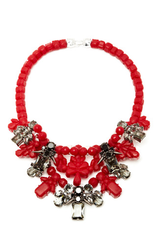 M'o Exclusive: Red & Silver Dagger Necklace by EK THONGPRASERT Now Available on Moda Operandi