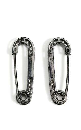 Rhodium Rhinestone Safety Pin Earrings by GENEVIEVE JONES Now Available on Moda Operandi