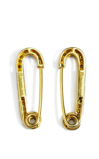 Yellow Safety Pin Earrings by GENEVIEVE JONES Now Available on Moda Operandi