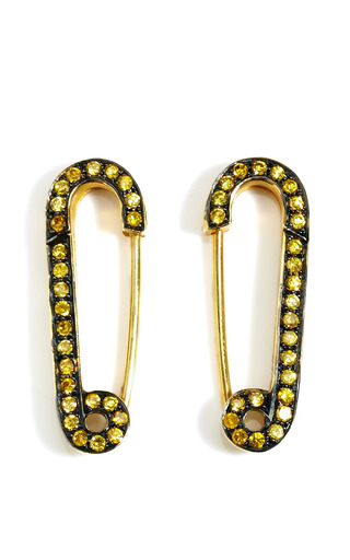 Medium genevieve jones yellow yellow safety pin earrings