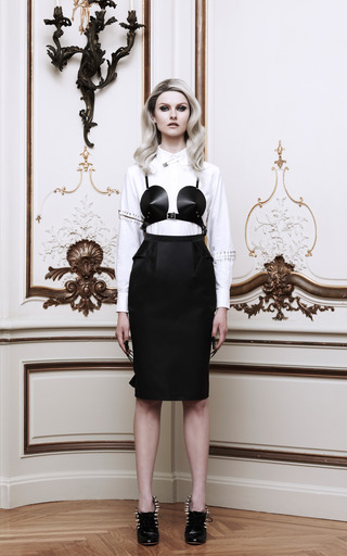 Safety Pin Embellished Cotton Poplin Oxford Shirt by THOM BROWNE Now Available on Moda Operandi