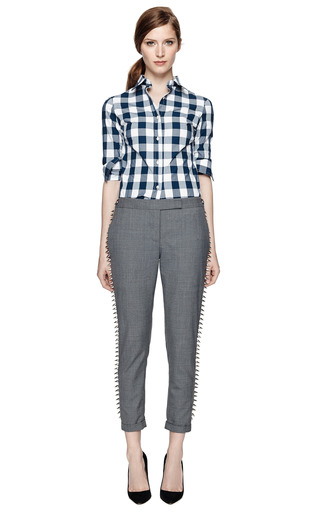 M'o Exclusive: Studded Twill Trousers by THOM BROWNE Now Available on Moda Operandi