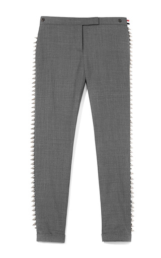 Medium thom browne dark grey mo exclusive studded twill trousers