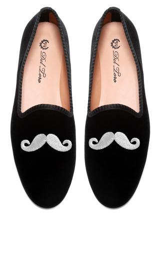 Medium del toro black prince albert black velvet slipper loafers with mustache embroidery
