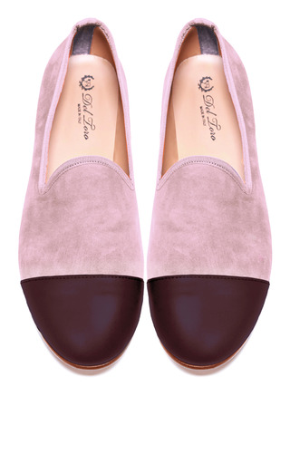 Medium del toro multi prince albert blush suede slipper loafers with merlot nappa leather captoe