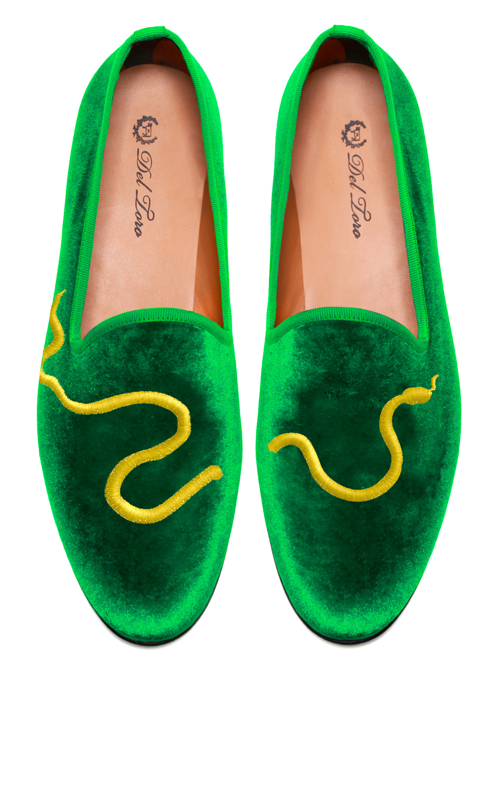 60cad06c975 Del ToroPrince Albert Green Velvet Slipper Loafers With Snake Embroidery.  CLOSE. Loading