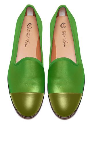 Medium del toro green prince albert lime slipper loafers with olive captoe