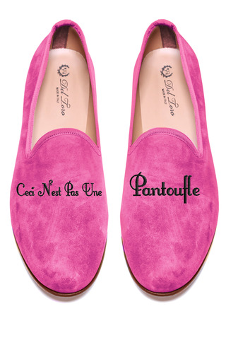 Medium del toro pink prince albert peony pink slipper loafers with ceci nest pas une pantoufle embroidery