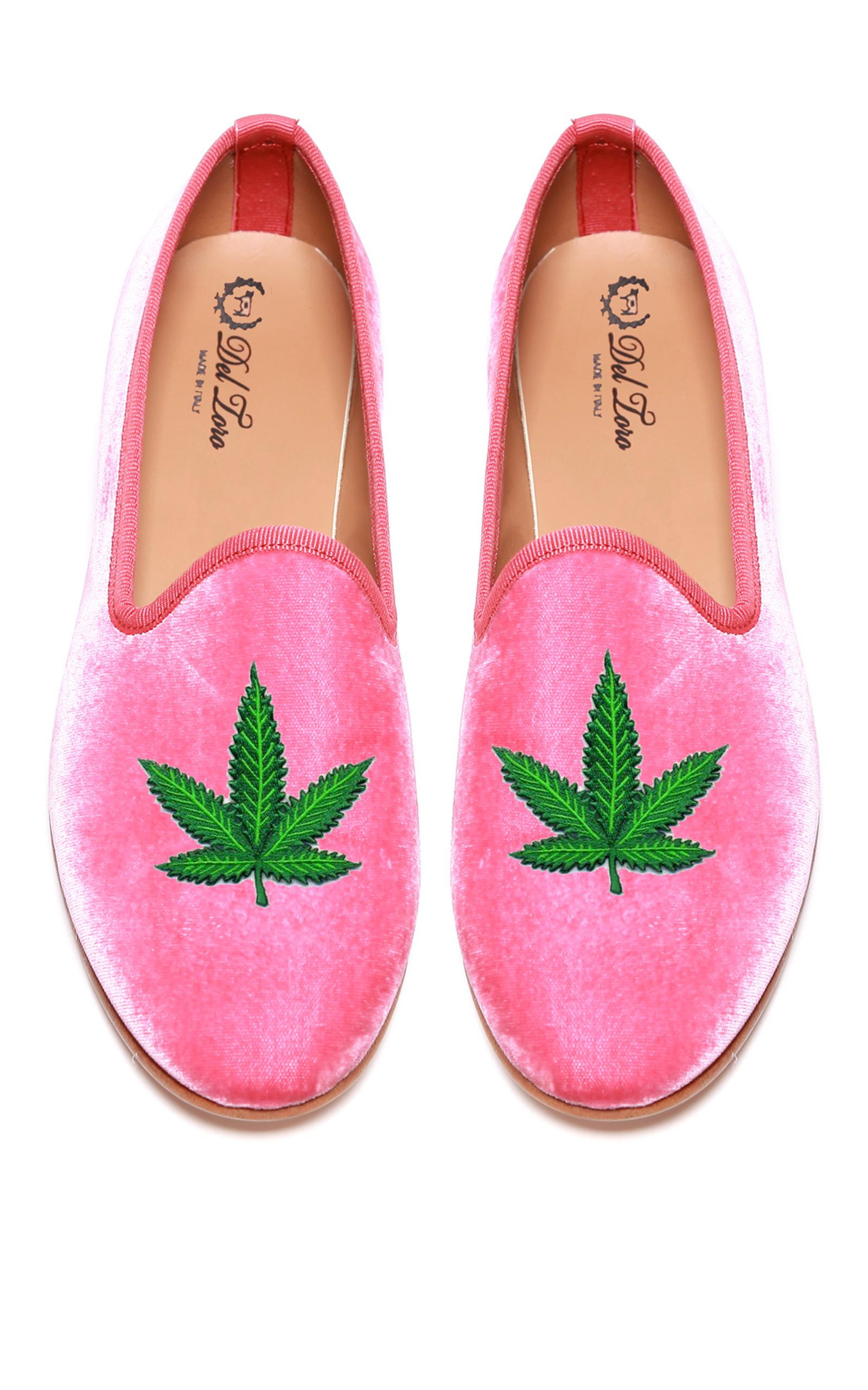 e1232dec203 Del ToroPrince Albert Bubblegum Pink Velvet Slipper Loafers With Cannabis  Leaf