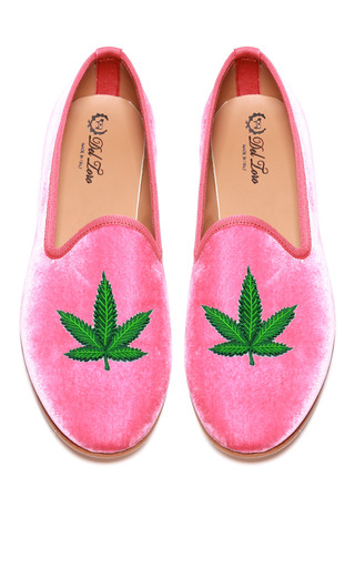 Prince Albert Bubblegum Pink Velvet Slipper Loafers With Cannabis Leaf by DEL TORO for Preorder on Moda Operandi