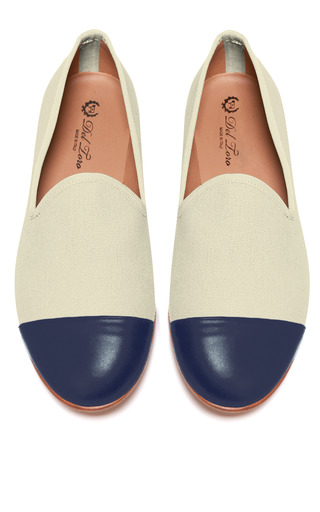 Medium del toro multi prince albert sand canvas slipper loafers with navy nappa leather captoe