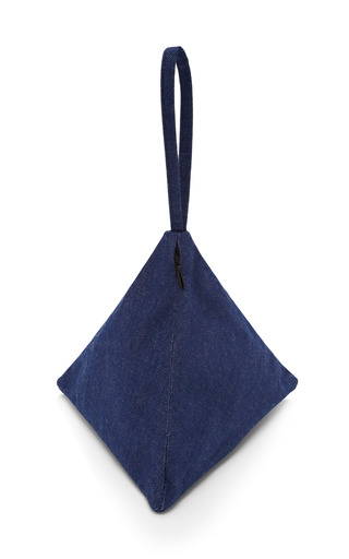 Small Denim Pyramid Pouch by SLOW AND STEADY WINS THE RACE Now Available on Moda Operandi