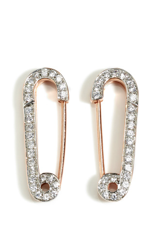 Medium genevieve jones white 18k rose gold vermeil rhinestone safety pin earrings