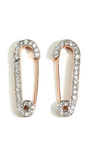 18 K Rose Gold Vermeil Rhinestone Safety Pin Earrings by GENEVIEVE JONES Now Available on Moda Operandi