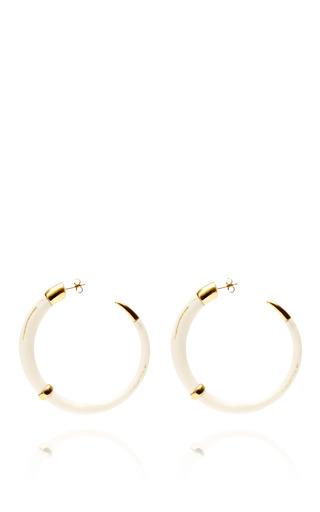 Medium aurelie bidermann gold caftan moon resin and gold plated hoop earrings