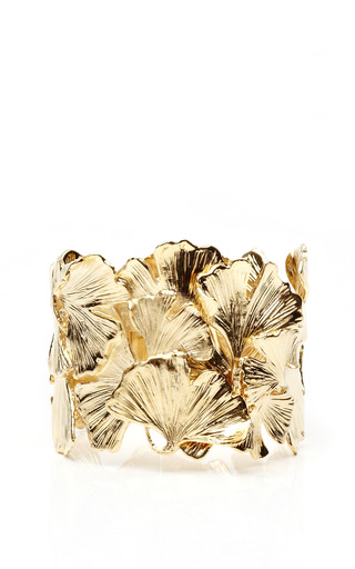 Medium aurelie bidermann multi gold plated ginkgo feather cuff