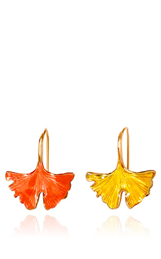 Medium aurelie bidermann multi gold plated and lacquered ginkgo feather earrings