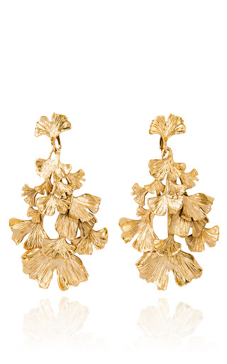 Medium aurelie bidermann gold gold plated ginkgo feather clip on earrings