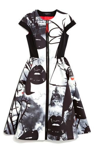 Medium giles black atom age printed neoprene a line dress