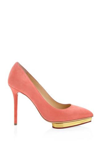 Medium charlotte olympia pink debbie court suede pumps