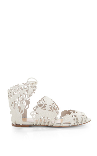 Medium charlotte olympia white linda cut out suede sandals