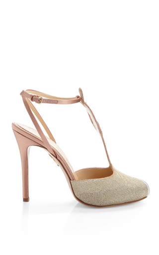 Mae West Woven And Satin T Bar Sandals by CHARLOTTE OLYMPIA Now Available on Moda Operandi