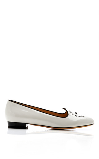 Medium charlotte olympia white fashionably late patent leather loafer
