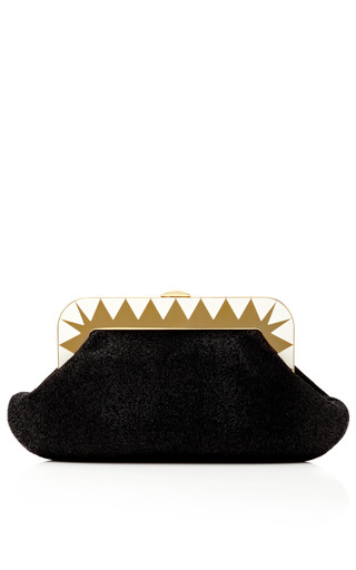 Medium charlotte olympia black gloria embossed suede clutch