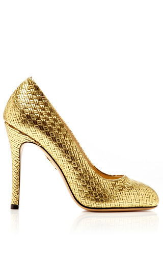 Medium charlotte olympia gold jenny woven leather pump