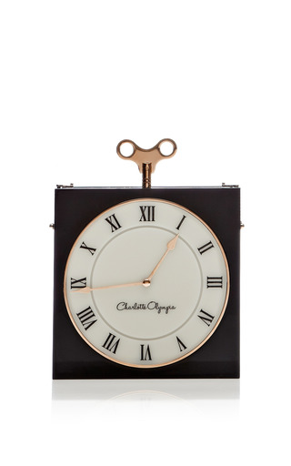 Medium charlotte olympia black time piece clutch