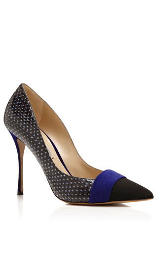 Pointy Toe Grosgrain & Suede Pump by NICHOLAS KIRKWOOD Now Available on Moda Operandi