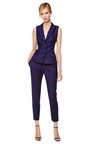 Navy Slim Gabardine Trousers by BOUCHRA JARRAR Now Available on Moda Operandi